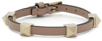 Valentino Rockstud Embellished Leather Bracelet - Womens - Pink