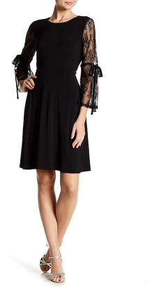 Nine West 3/4 Lace Sleeve Fit & Flare Dress