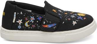 41a23d7d5ef ... Black Canvas Glow In The Dark Cosmic Print Tiny TOMS Luca Slip-Ons