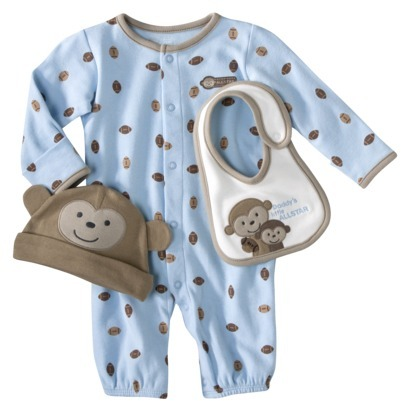 Carter's JUST ONE YOU Made by Newborn Boys' 3 Piece Converta Gown, Big and Cap Set - Blue