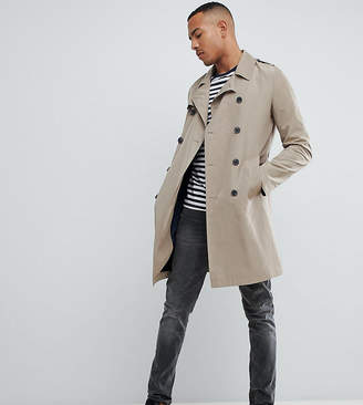 Asos Design DESIGN Tall shower resistant trench coat in stone