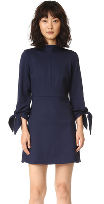 Tibi Bond Stretch Mock Neck Tie Sleeve Dress $395 thestylecure.com