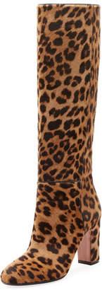Aquazzura Brera Leopard-Print Calf Hair Boot