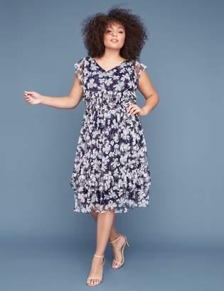 Lane Bryant Floral Printed Mesh Fit & Flare Midi Dress