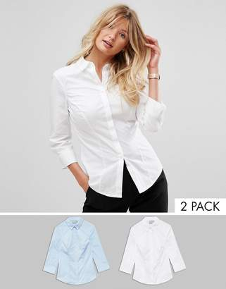 Asos DESIGN fuller bust 3/4 sleeve shirt in stretch cotton 2 pack