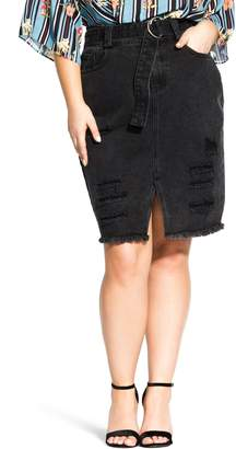 City Chic Distressed Denim Skirt