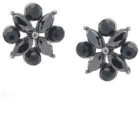 Carolee Jet Black Crystal Flower Earrings