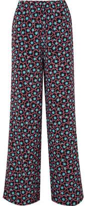 Marni Printed Silk-crepe Wide-leg Pants - Black
