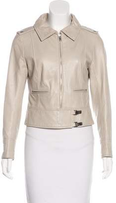 Courreges Leather Zip-Up Jacket