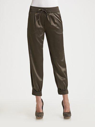 Diane von Furstenberg Cuffed Silk Cropped Pants