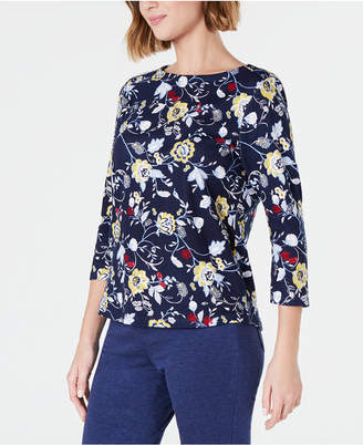 Charter Club Printed Cotton Boat-Neck Top