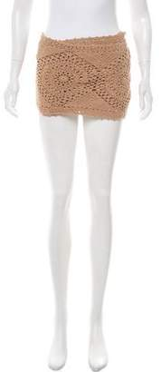 Melissa Odabash Open Knit Wrap Mini Skirt
