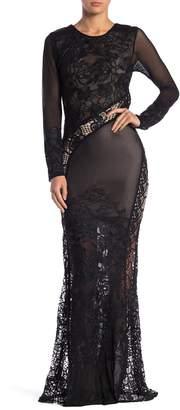 Sky Natesa Embroidered Crochet Backless Maxi Dress