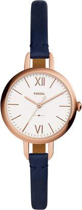 Fossil Women's Annette Navy Leather Strap Watch 30mm