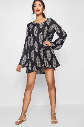 boohoo Wide Sleeve Large Paisley Shift Dress