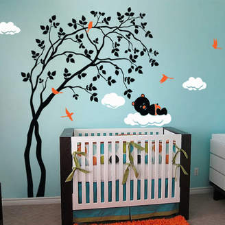 Wall Art Leaning Right Tree With Baby Bear Wall Sticker