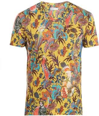 Etro Floral-print V-neck linen T-shirt