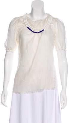 David Szeto Short Sleeve Wool Top