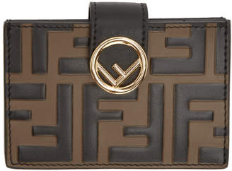 Fendi Black and Brown F is Multi Card Holder