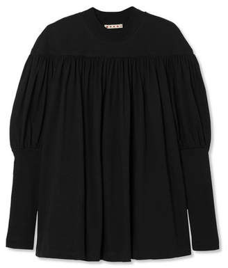 Marni Ruched Cotton-jersey Top - Black