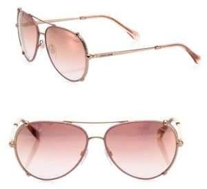 Roberto Cavalli 58MM Leather-Trim Aviator Sunglasses