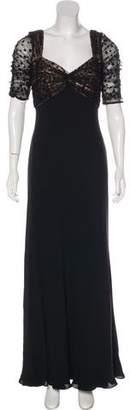 Carmen Marc Valvo Lace-Trimmed Silk Dress