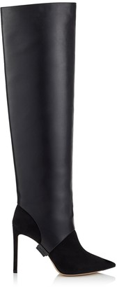 Jimmy Choo HURLEY 100 Black Suede and Calf Leather Two-Piece Knee-High Booties