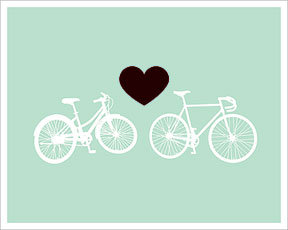 Hybrid-Home Bike Love - Light Green Limited Edition Print