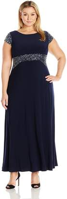 Alex Evenings Women's Plus Size Beaded Waist Dress