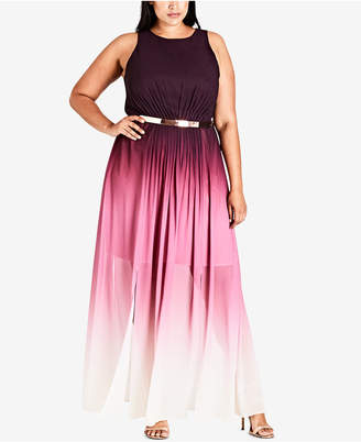City Chic Trendy Plus Size Ombre Maxi Dress