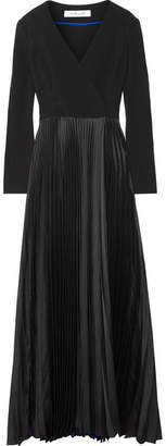 Diane von Furstenberg Wrap-effect Crepe De Chine And Plissé-satin Gown - Black