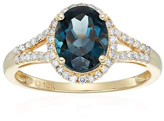 10k Yellow Gold London Topaz and Diamond Oval Halo Engagement Ring (1/5cttw