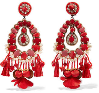 Ranjana Khan Lennox Mother-of-pearl, Raffia And Crystal Clip Earrings - Pink