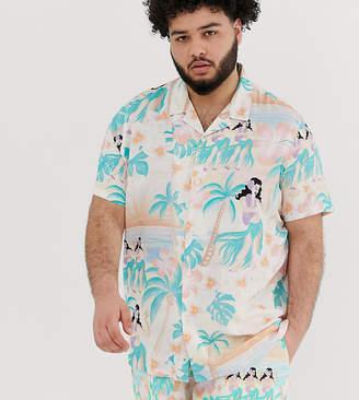 Asos Design DESIGN Festival oversized hawaiian shirt in pink with revere collar