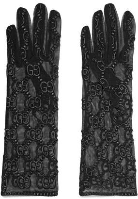 41e1c0fad29 Gucci Embroidered Tulle Gloves - Black