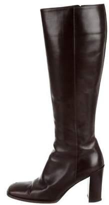 Gucci Square-Toe Leather Boots