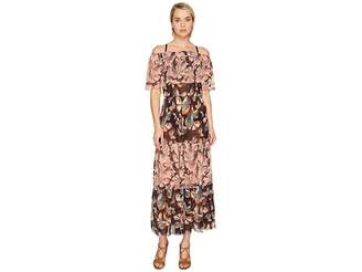 Fuzzi Off the Shoulder Butterfly Patchwork Dress Cover-Up Women's Dress