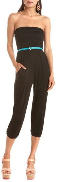 Charlotte Russe Belted Jersey Tube Jumpsuit