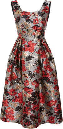 Anna Sui Scattered Flowers Metallic Brocade Fit & Flare Dress