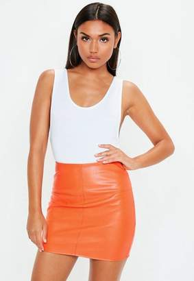 Missguided Orange Faux Leather Mini Skirt