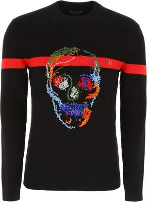 Alexander McQueen Pullover With Multicolor Skull