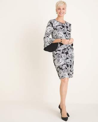 Chico's Chicos Black and White Paisley Bell-Sleeve Dress