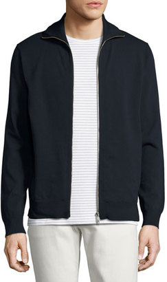 Theory Kampers SFZ Neofil Front-Zip Jacket, Navy $265 thestylecure.com
