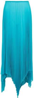 Marques Almeida Marques' Almeida MARQUES' ALMEIDA Turquoise Pleated Georgette Midi Skirt