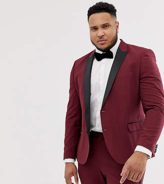 Asos Design DESIGN Plus skinny tuxedo prom suit jacket in plum