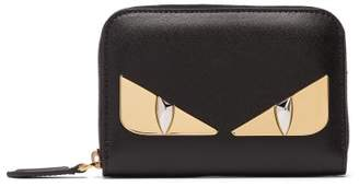 Fendi Bag Bugs Zip Around Leather Wallet - Womens - Black Gold