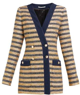 Alessandra Rich Double Breasted Striped Tweed Jacket - Womens - Black Gold