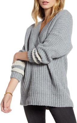 Treasure & Bond Stripe Sleeve Oversize V-Neck Sweater