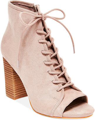 Madden Girl Rytte Lace-Up Block-Heel Booties $69 thestylecure.com