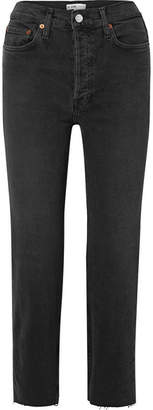 RE/DONE Stove Pipe Comfort Stretch Cropped High-rise Straight-leg Jeans - Black
